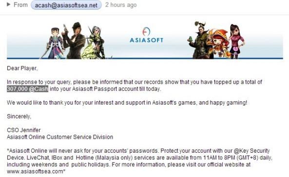 check your total asiasoft cash